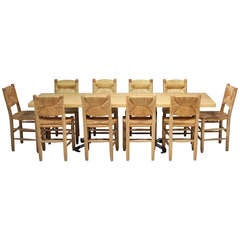 Large Charlotte Perriand Les Arcs table with 10 bauche chairs