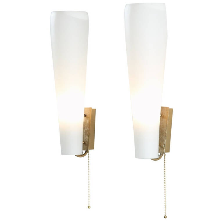 Wall Lamps Germany : Pair of Brass and Opaline Glass Wall Lamps, Germany, 1980s For Sale at 1stdibs