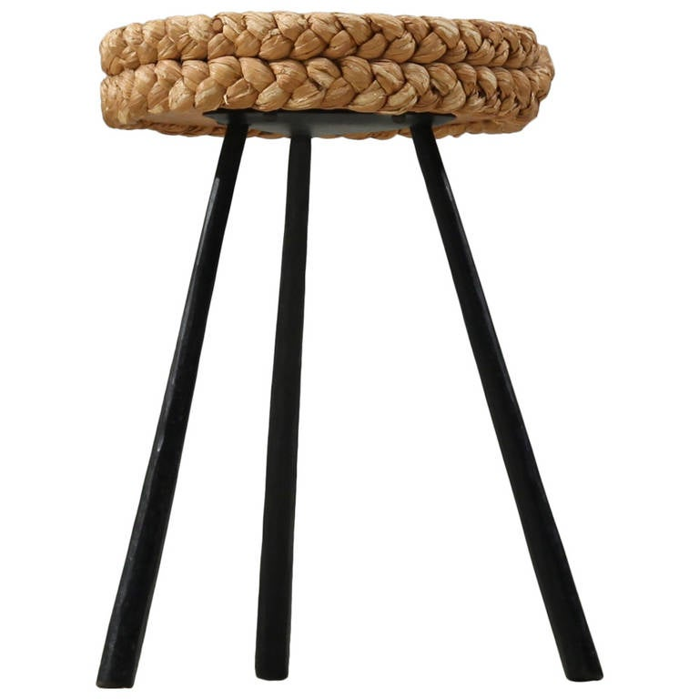 Rope Covered Tripod Stool With Metal Legs At 1stdibs