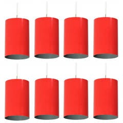 Louis Poulsen set of 8 Minimalist Pendants in Red, Denmark, 1960s