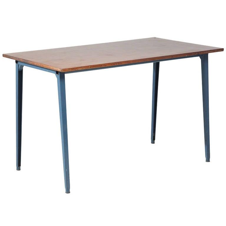 Friso kramer reform table with original and rare petrol blue metal base at 1stdibs - Kamer dining ...