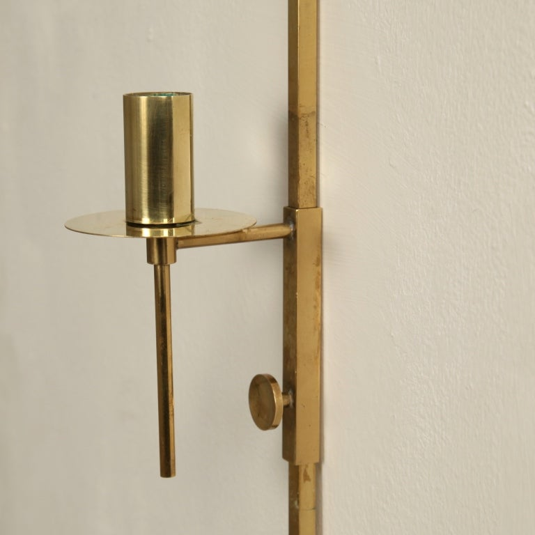 Wall Mounted Candle Lights : Pair of Wall Mounted Brass Candle Holders at 1stdibs