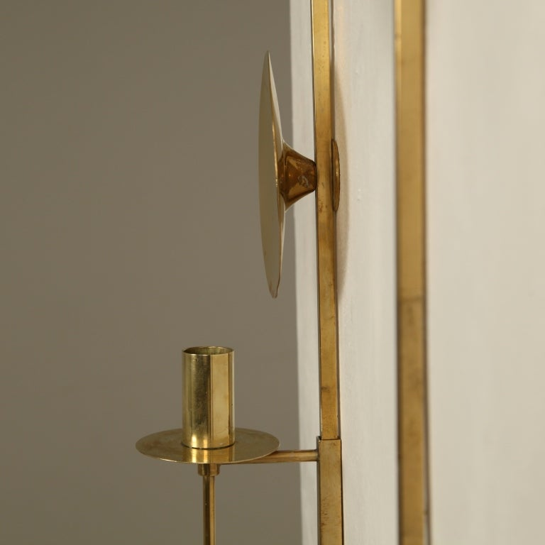 Wall Mounted Candle Lamps : Pair of Wall Mounted Brass Candle Holders at 1stdibs