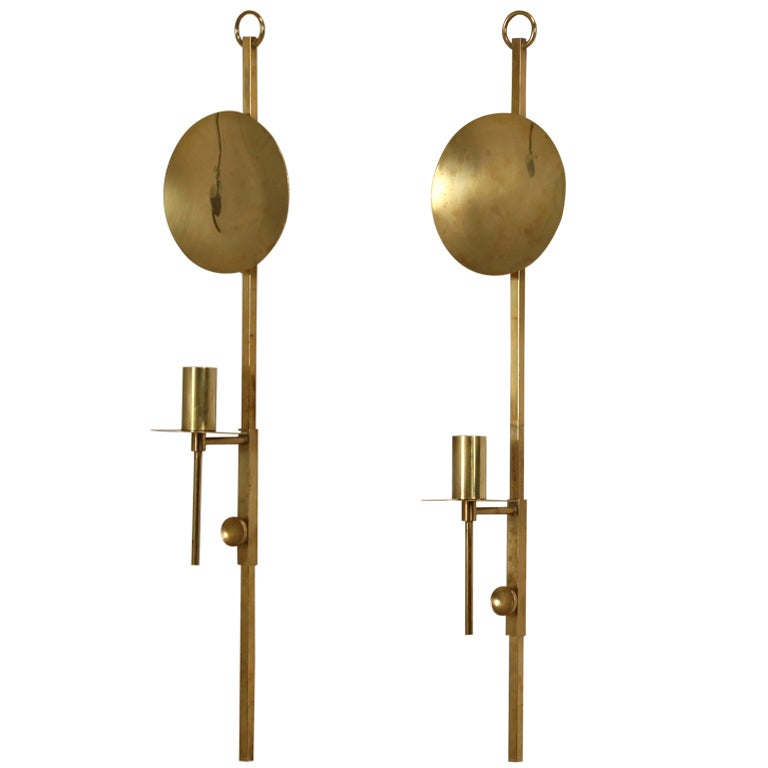 Pair of Wall Mounted Brass Candle Holders at 1stdibs