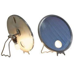 Pair Illuminating nickel 'Brot' vanity mirrors, France, 1930s