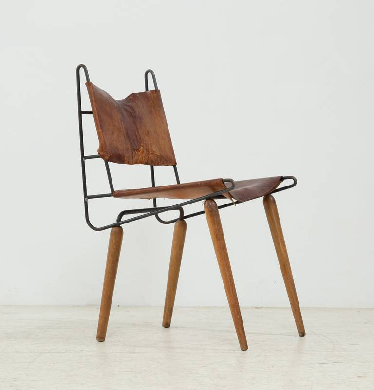 Allan Gould Minimalist Leather And Iron Chair Usa 1950s For Sale
