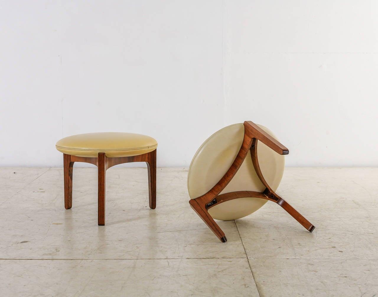 Pair of Sven Ellekaer Stools, Chr. Linneberg Møbelfabrik, Denmark, 1960s In Good Condition For Sale In Maastricht, NL