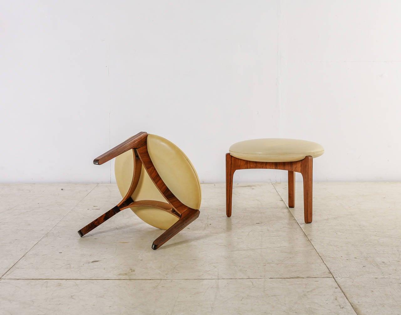 Danish Pair of Sven Ellekaer Stools, Chr. Linneberg Møbelfabrik, Denmark, 1960s For Sale