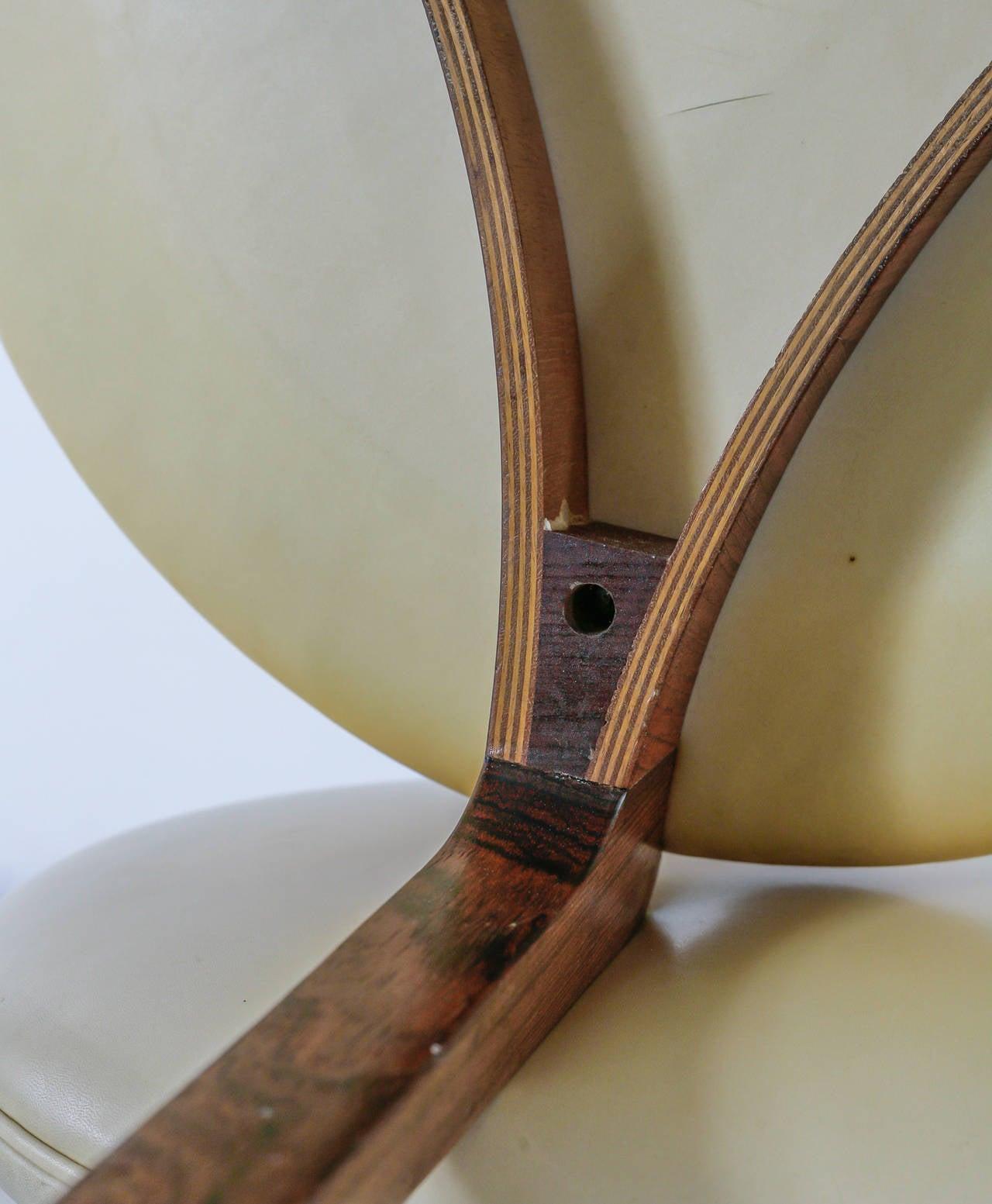 Leather Pair of Sven Ellekaer Stools, Chr. Linneberg Møbelfabrik, Denmark, 1960s For Sale