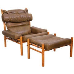 Inka Lounge Chair and Ottoman by Arne Norell
