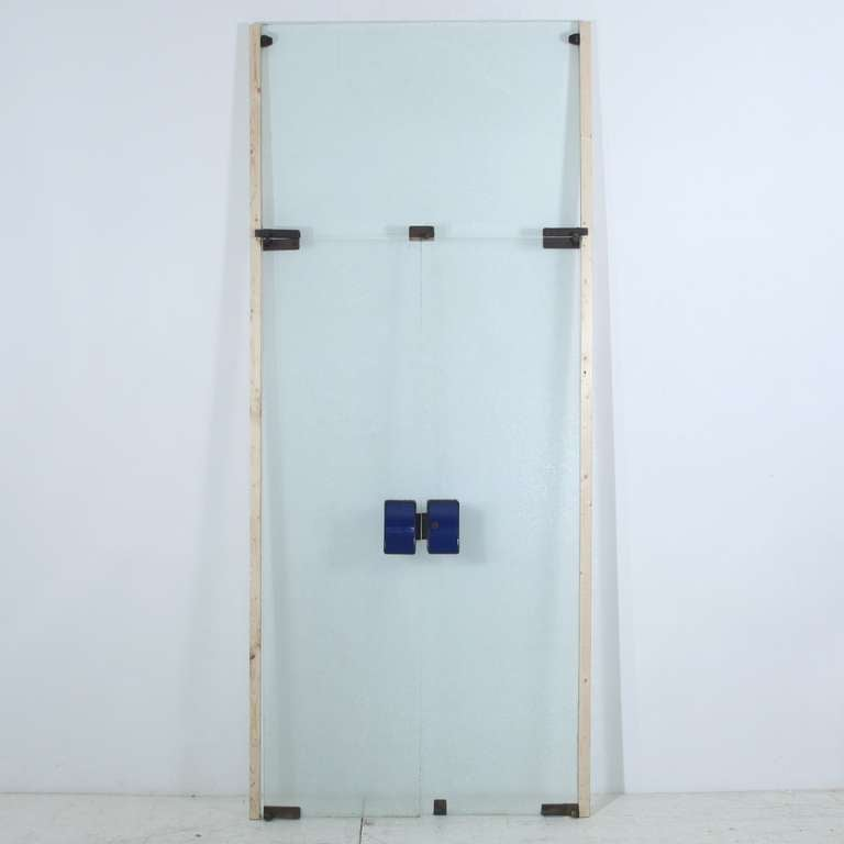 Italian 1950s Glass Doors With Blue Brass Knobs And Brass