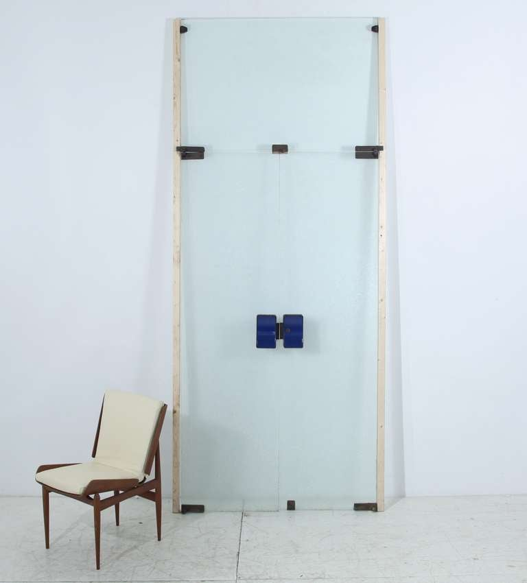 Mid-Century Modern Italian 1950s Glass Doors with Blue Brass Knobs and Brass Latches and Hinges