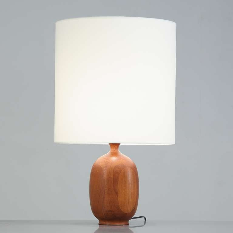 Danish Wooden Vase Shaped Base Table Lamp, 1960s 2