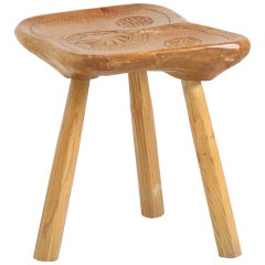 Franco Armand Solid Sculpted Wood Stool, Italy, 1966