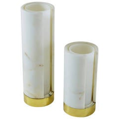 Pair of Marble and Plexiglass Table Lamps, Italy, 1960s