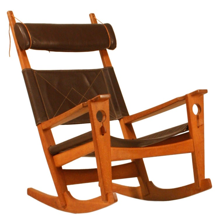 Hans Wegner Key Hole Rocking Chair In Brown Leather At 1stdibs