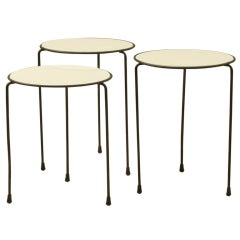 Nest Of Three Opaline Glass Top Wire Tables