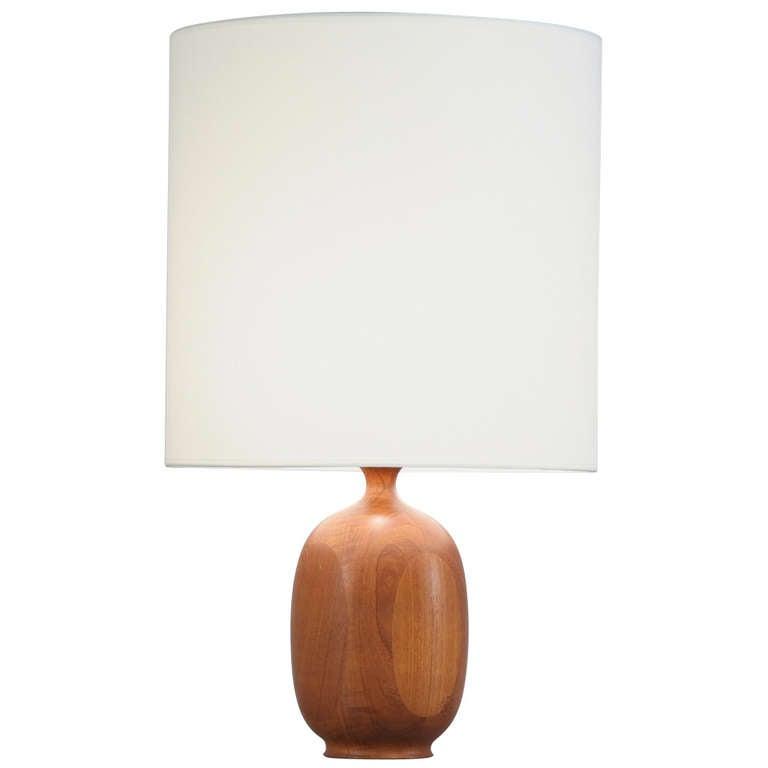 wooden base table lamp at 1stdibs. Black Bedroom Furniture Sets. Home Design Ideas