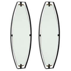Pair 1950s metal and brass wal mirrors, Italy