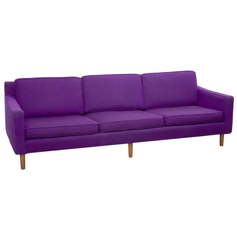 Mid Century Modern Sofa By Harvey Probber In Purple Wool