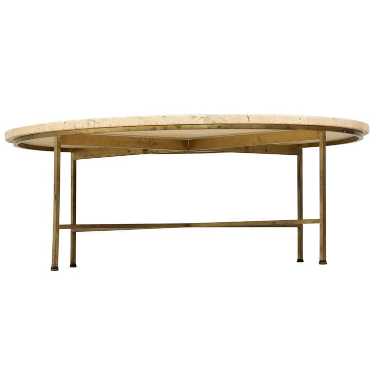 Round Paul Mccobb Coffee Table With Brass Legs And Travertine Top At 1stdibs