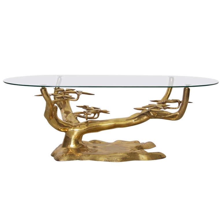Rare Free Form Willy Daro Brass Coffee Table