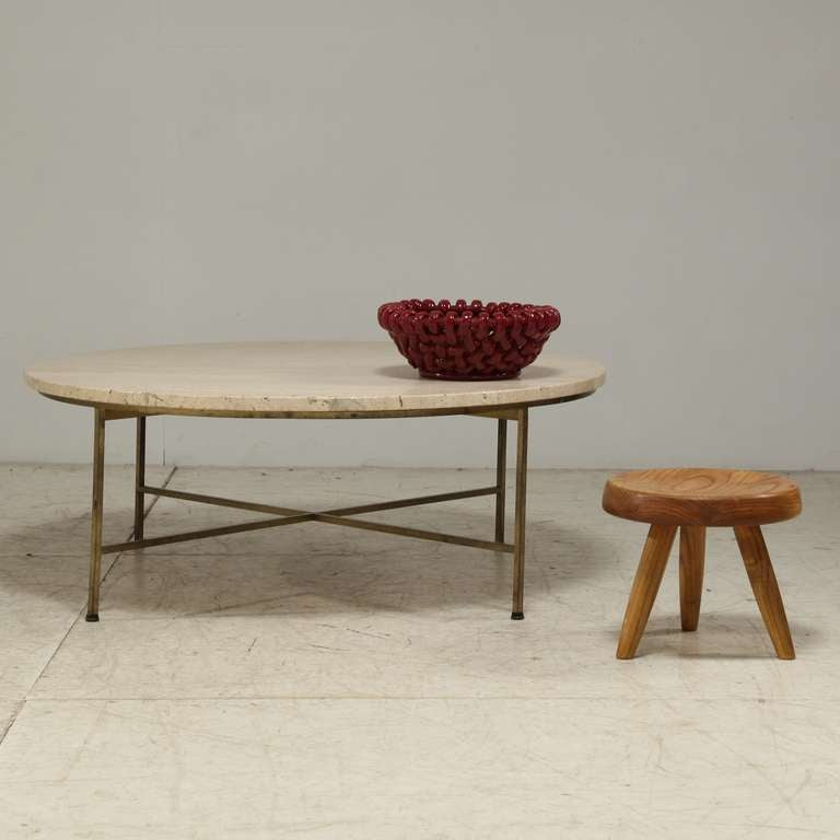 Round Paul McCobb Coffee Table With Brass Legs And
