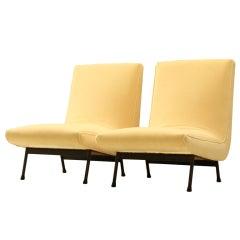 Pair of Cream White Slipper Chairs
