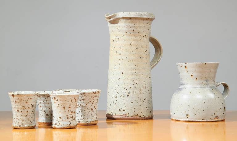 Mid-20th Century Gustave Tiffoche Ceramic Pitcher Set For Sale