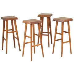 Set of Four S-01-C Barstools by Pierre Chapo