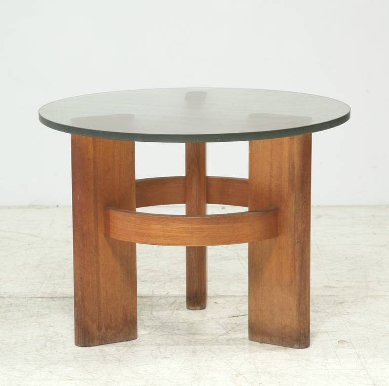 Round Studio Side Table With Solid Old Oak Legs And Original Glass Top For Sale At 1stdibs