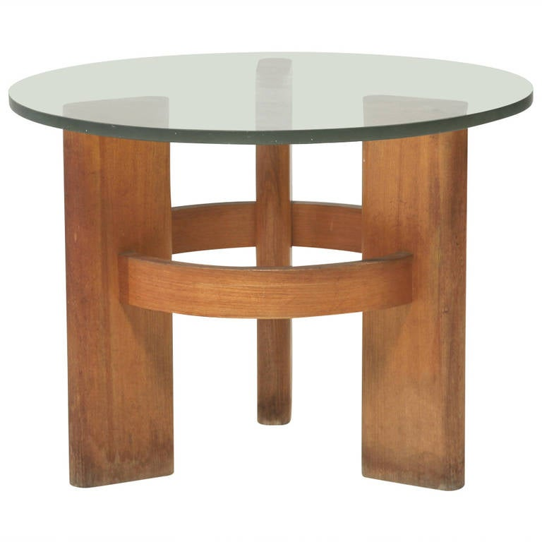 Solid Wood Coffee And End Tables For Sale: Round Studio Side Table With Solid Old Oak Legs And