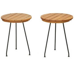 Pair of Umanoff Side Tables with Slatted Wood Top