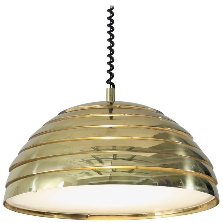 Large Brass Round Pendant. Germany, 1960s