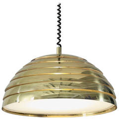 Large Brass Round Pendant. Germany, 1960s