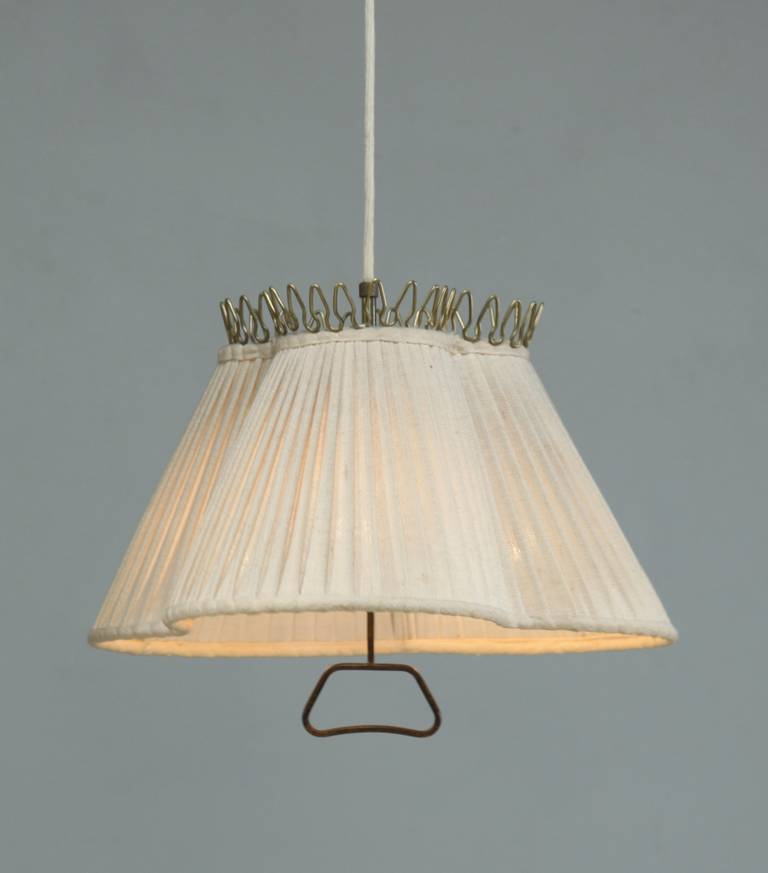 A 1940s Pendant Lamp From Sweden The Pleated Fabric Shade Has Remarkable Trefoil Shape