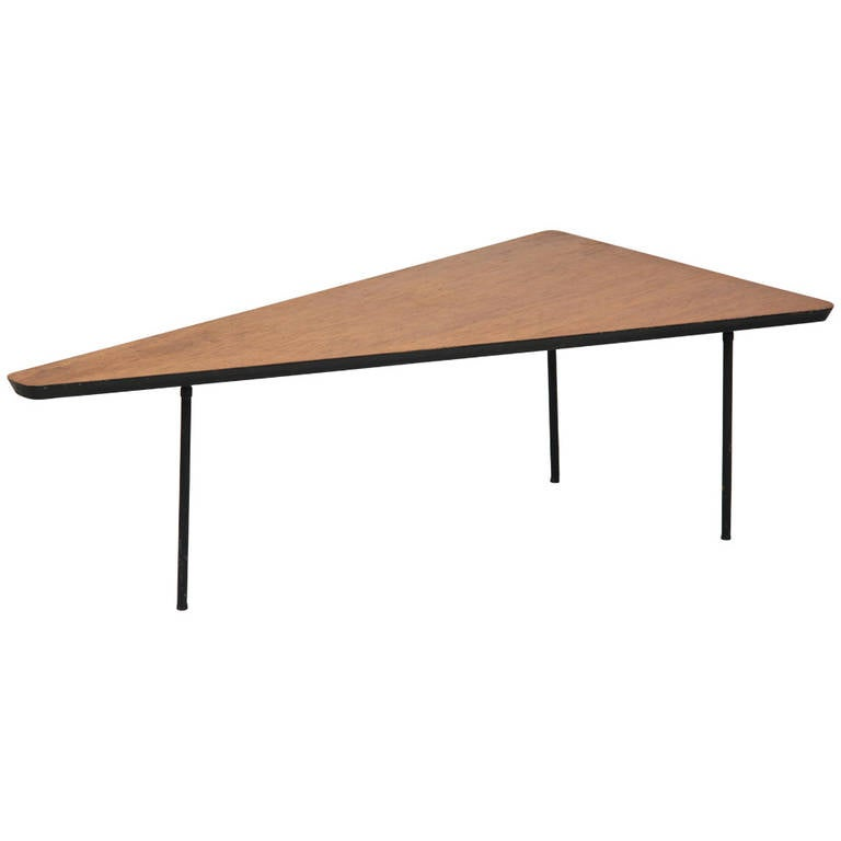 Rare Early 1950s Triangle Shaped Coffee Table At 1stdibs