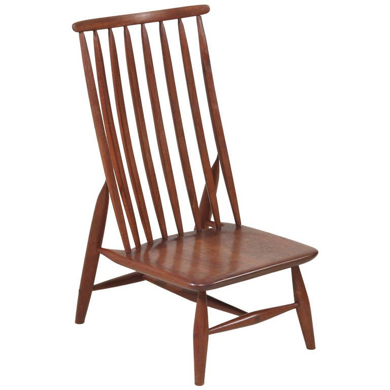 Handcrafted And Sculptural Wooden High Back Chair For