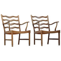 Early Pair of Ole Wanscher Armchairs