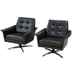 Pair Swiveling Black Leather Club Chairs
