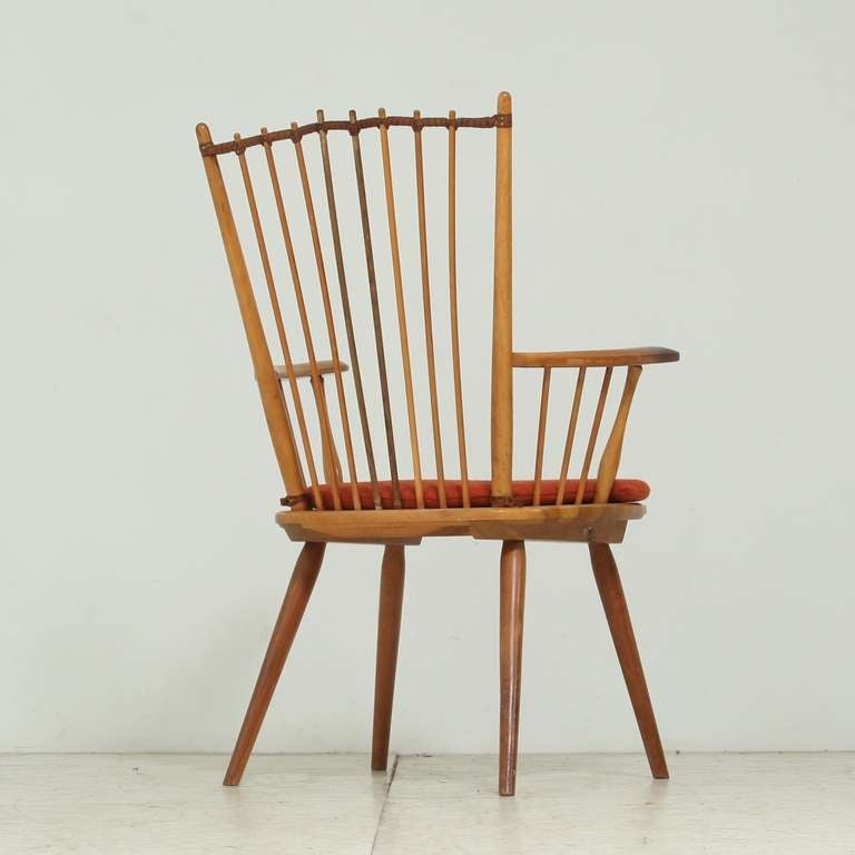 Architectural Arts and Crafts Chair by Albert Haberer for Hermann Fleiner In Good Condition For Sale In Maastricht, NL