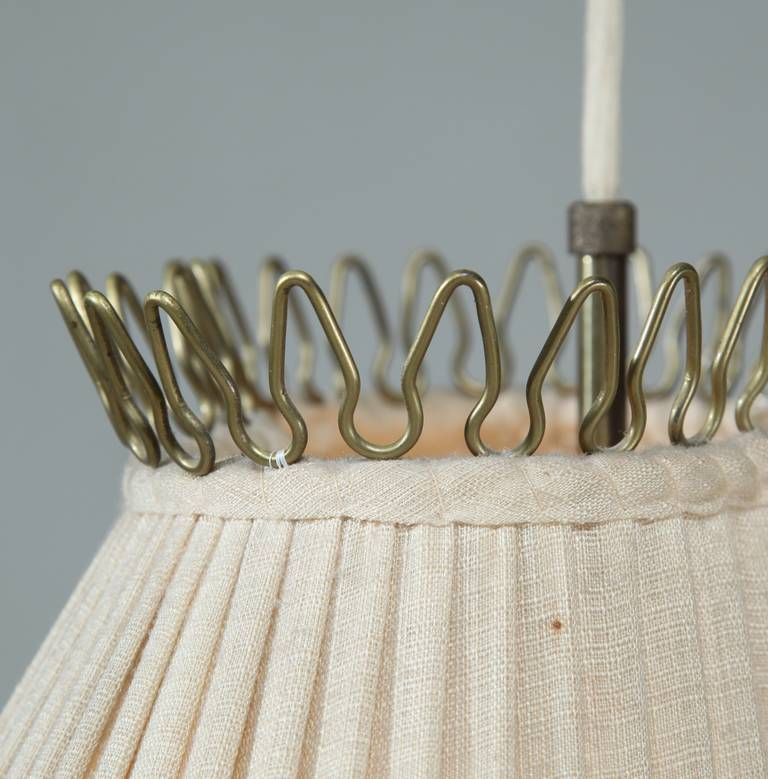 1940s Pendant Lamp With A Fabric Shade Counterweight And