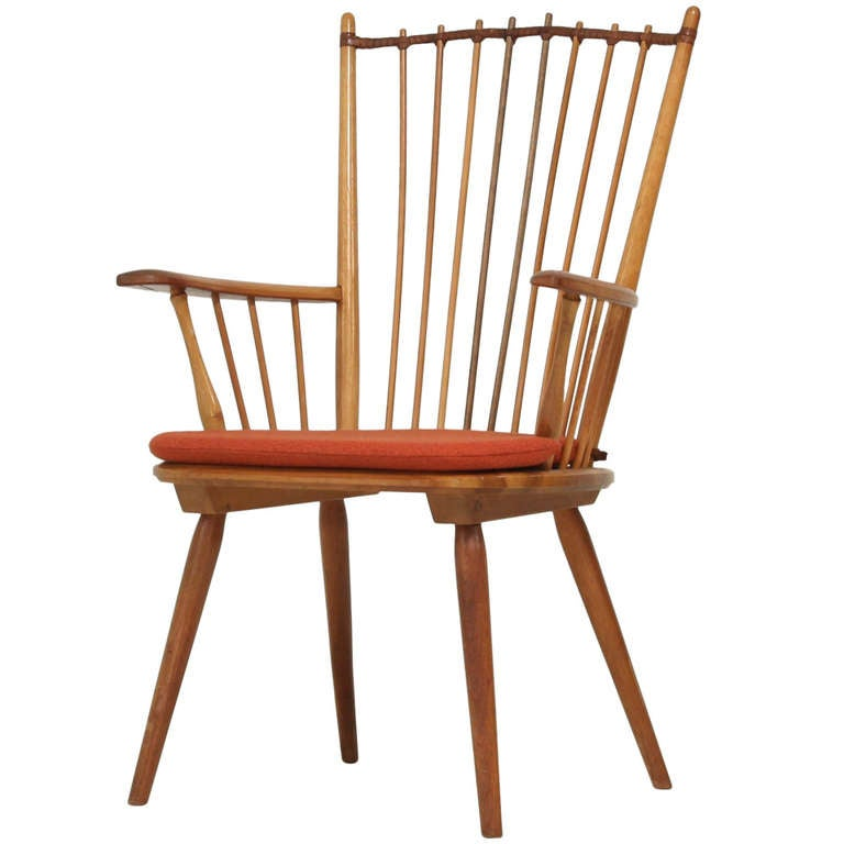 Architectural Arts and Crafts Chair by Albert Haberer for Hermann Fleiner For Sale