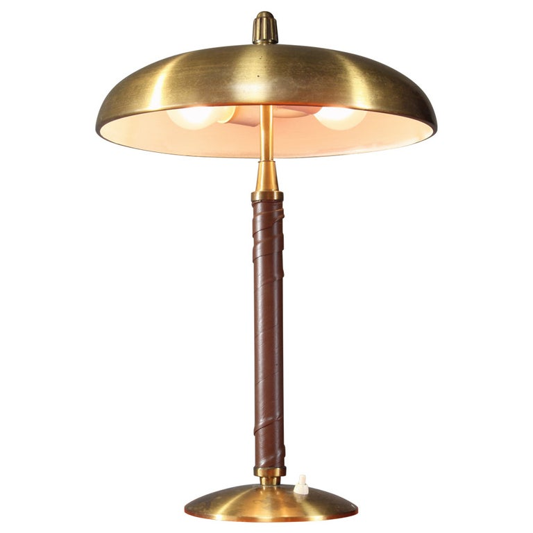 Einar Backstrom Brass and Leather Table Lamp, Sweden, 1930s For Sale