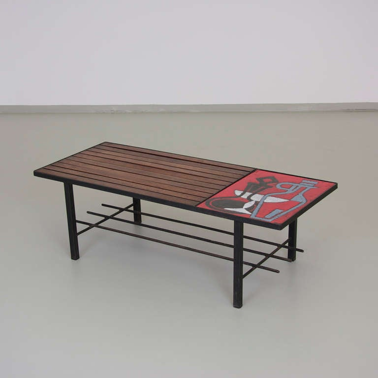 1950s French Wire Coffee Table With A Ceramic Tile By Jean Cloutier At 1stdibs