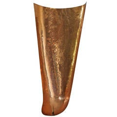 Hand-hammered copper wall candelabrum, Germany, 1960s