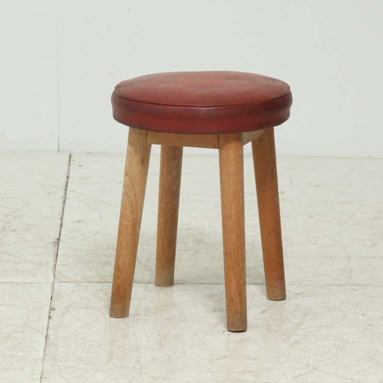 4 Legged Stool ~ S wooden four legged stool red naugahyde seat at stdibs