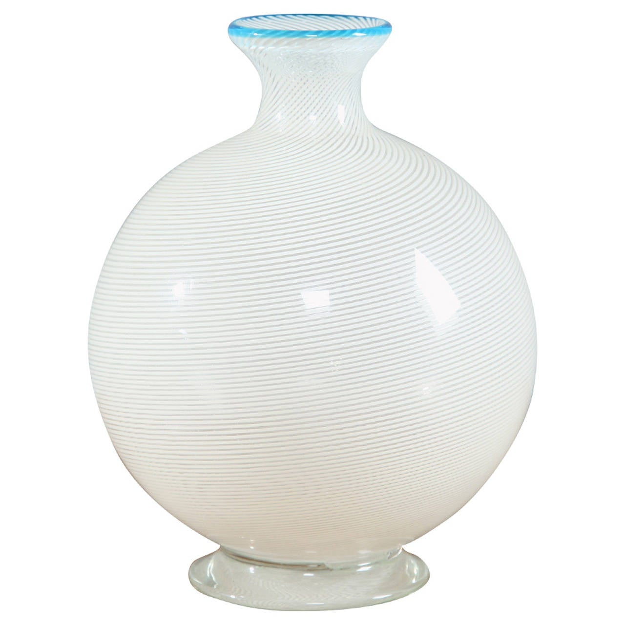 White and Turquoise Murano Glass Vase by Vistosi, Italy, 1950s