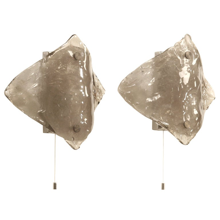 Pair of Grey Italian Glass Wall Lamps by Mazzega, 1960s