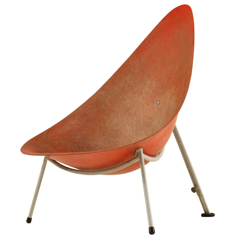 Early French Fiberglass Easy Chair In Red By Merat France